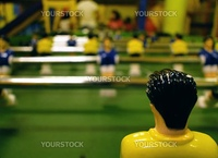 Close up of a table soccer