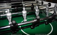 A macro of the little men on a table football