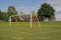 An empty soccer goal with trees in the background.
