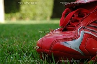 red soccer shoe