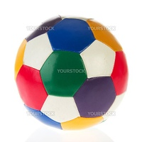 Colorful leather soccer ball isolated over white background