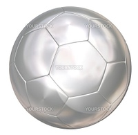 silver soccer ball on white separated path included