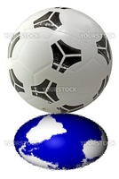 A ball for football (soccer) with reflection of the world