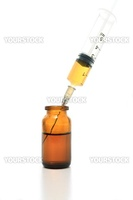 Syringe, glass bottle with drugs isolated on white