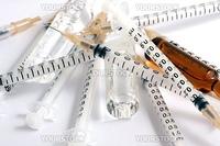 Syringes on white background