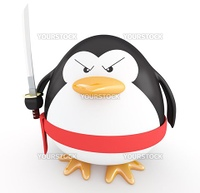 Fat ninja penguin with katana ready to attack