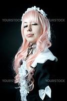 Cosplay girl on black background