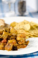 Simple Indian meal with naan bread and chappati crisps