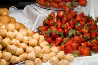 Fresh and delicious strawberries and gourmet lemon puffs.