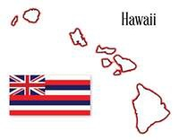 Hawaii State Map and Flag