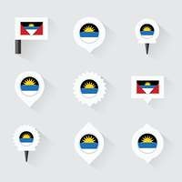 antigua and barbuda flag and pins for infographic, and map desig