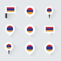 armenia flag and pins for infographic, and map design