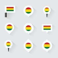 bolivia flag and pins for infographic, and map design