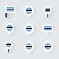 botswana flag and pins for infographic, and map design