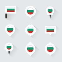 bulgaria flag and pins for infographic, and map design