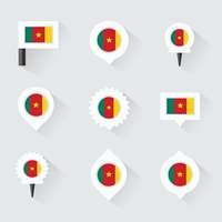 cameroon flag and pins for infographic, and map design