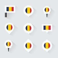 chad flag and pins for infographic, and map design
