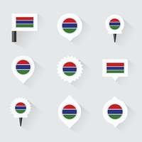 gambia flag and pins for infographic, and map design