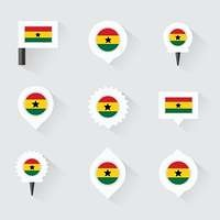 ghana flag and pins for infographic, and map design