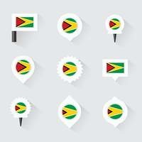 guyana flag and pins for infographic, and map design