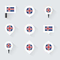 Iceland flag and pins for infographic, and map design