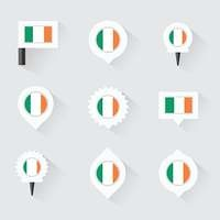 Ireland flag and pins for infographic, and map design
