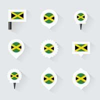 jamaica flag and pins for infographic, and map design