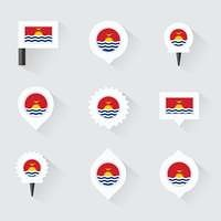 Kiribati flag and pins for infographic, and map design