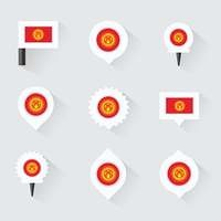 Kyrgyzstan flag and pins for infographic, and map design
