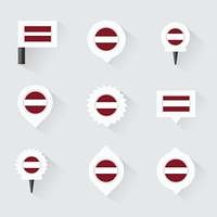 latvia flag and pins for infographic, and map design