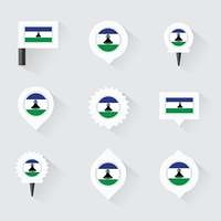 Lesotho flag and pins for infographic, and map design