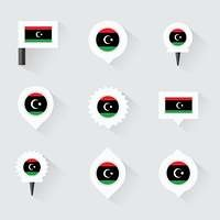 libya flag and pins for infographic, and map design