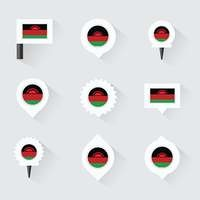 Malawi flag and pins for infographic, and map design