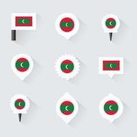 maldives flag and pins for infographic, and map design