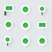 mauritania flag and pins for infographic, and map design
