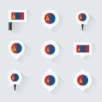 mongolia flag and pins for infographic, and map design
