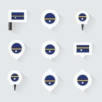 Nauru flag and pins for infographic, and map design