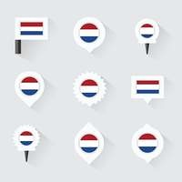 netherlands flag and pins for infographic, and map design
