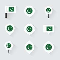 pakistan flag and pins for infographic, and map design