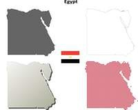 Egypt outline map set