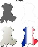 Auvergne blank detailed outline map set