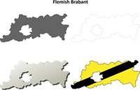 Flemish Brabant outline map set - Flemish version