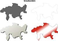 Graubunden blank detailed outline map set