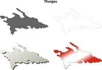 Thurgau blank detailed outline map set