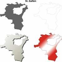 St. Gallen blank detailed outline map set