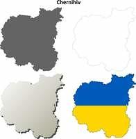 Chernihiv blank outline map set