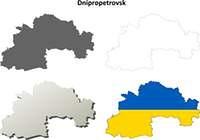 Dnipropetrovsk blank outline map set