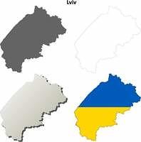 Lviv blank outline map set