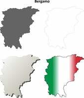 Bergamo blank detailed outline map set