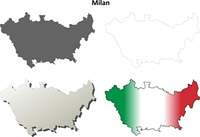 Milan blank detailed outline map set